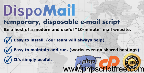 "DispoMail – Temporary, Disposable ""10 Minute"" Mail – PHP Script – PHP Script Free Download"
